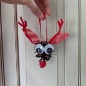 Pinecone Reindeer Ornament  - ready to hang
