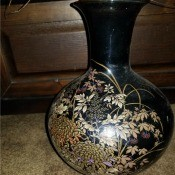 Value of This Japanese Vase - black narrow necked vase with floral pattern