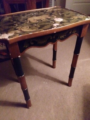 Identifying a Old Table - table with painted scene of a lion, elephant, etc. on the top and stylized bamboo shaped legs