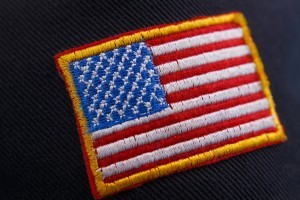 American flag patch on a sleeve.