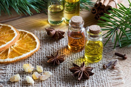 A collection of essential oils.