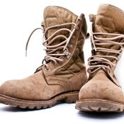 A pair of tan Army boots.