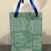 Housewarming Gift Bag from Recycled Food Package - pretty gift bag