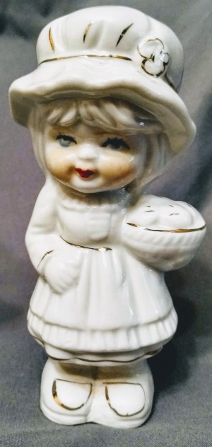 Identifying Porcelain Figurines - girl with hat, white with gold trim