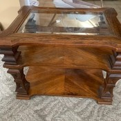 Value of a Mersman End Table - glass topped end table with center shelf