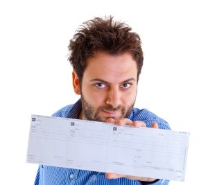 A man holding a money order.