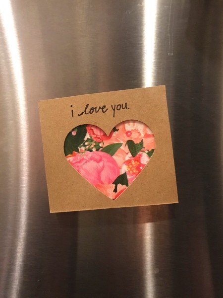 Heart Picture Frame Magnet - finished magnet on a stainless steel refrigerator door