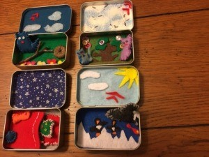 Several different quite time play tins made from Altoid tins.