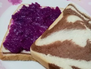 Ube (Purple Yam) Paste on bread
