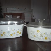 Value of Vintage Corningware Casserole Dishes - casserole dishes with floral pattern and glass lids
