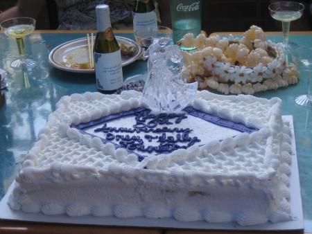 A cake at a wedding anniversary celebration.