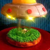 UFO Cow Abduction Cake - cake with the fairy lights in place