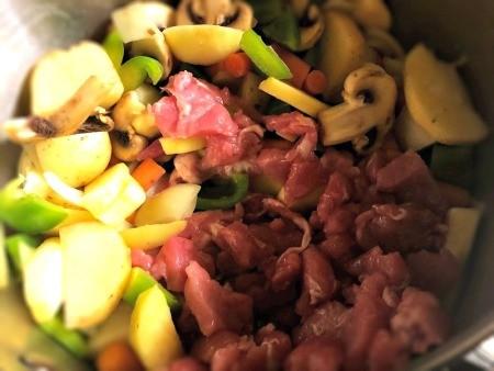meat & veggies in pan