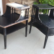 Age of Mersman Side Tables - stepped tables, in refinishing process