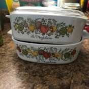 Value of Vintage Corningware - two casserole dishes with herb and veggies pattern