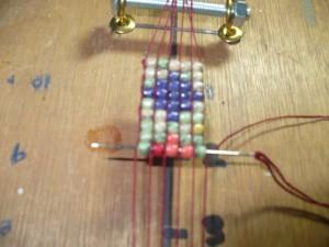Making A Beading Loom - beginning to bead