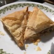 Pork Stuffed Filo Triangles on plate
