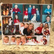 Making a Photo Christmas Card Keepsake Display - display standing on a granite counter