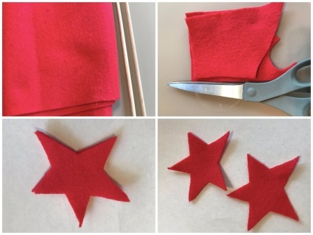 Making Felt Wand Pointers - cutting out two red felt star shapes