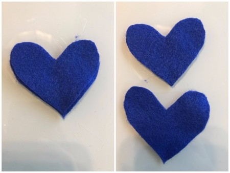 Making Felt Wand Pointers - blue felt hearts