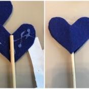 Making Felt Wand Pointers - glueing blue felt stars to dowel