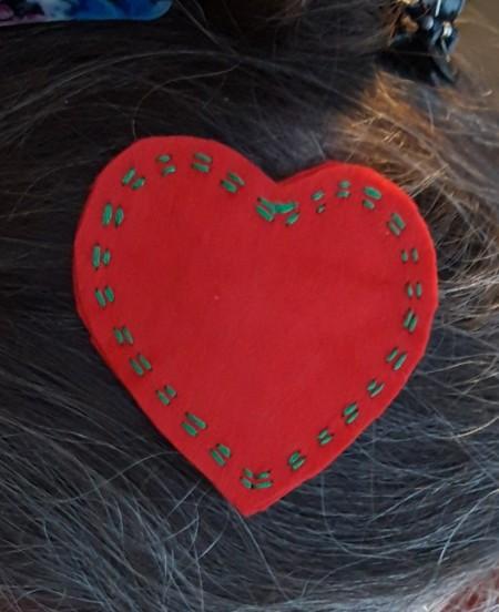 Felt Heart Hair Clip - closeup of heart hairclip