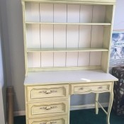 Value of a Vintage Desk - white desk with hutch, gold trim and three drawers on the left