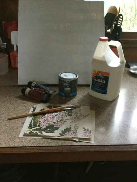 Creating a Crackle Paint Finish on Canvas - supplies