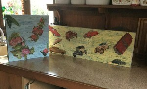 Creating a Crackle Paint Finish on Canvas - two finished canvases