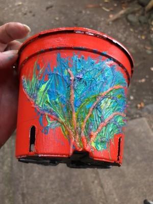 Decorative Planter Pots - tree design on red pot