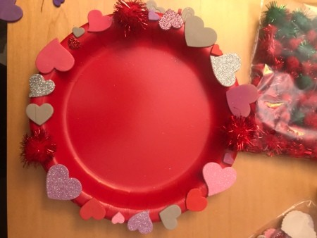 Valentine's Day Hanging Picture Frame - single layer of heart stickers and poms