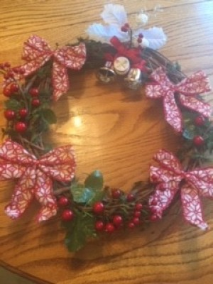 Christmas Wreath - bows and other items glued in place