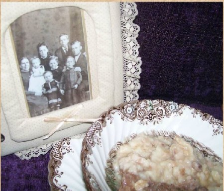 bowl of Tyre Pudding & family picture