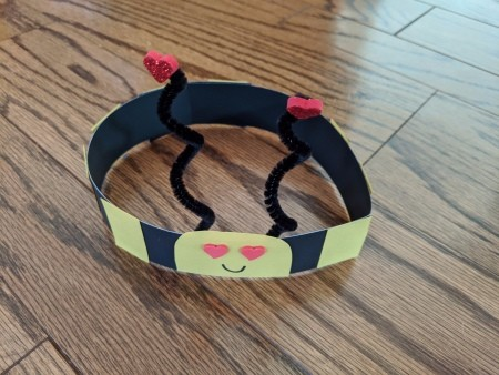 Valentine's Themed Bee Crown - finished crown on the floor