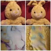 Identifying a 90s Plush Rabbit - collage of a plush bunny
