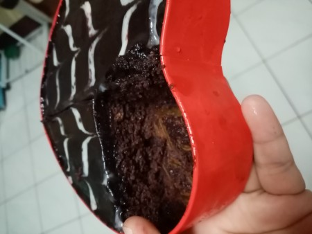 piece of cake cut from Heart Shaped Tin Cake