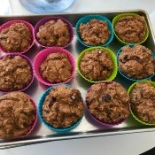 baked Applesauce Oat Muffins on tray