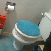 A toilet with a blue toilet seat cover.