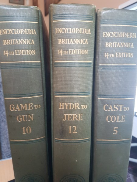Value of Encyclopedia Britannica - spine of three volumes