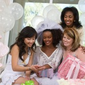 Group of women celebrating a wedding shower.