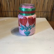 Valentine Gift Jar - pink rocks added to the lid, ready to fill with candy or other small gifts