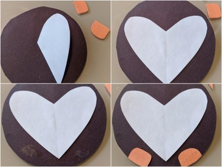 Penguin Valentine's Card or Crown - cut out a white heart and glue in place, add feet