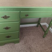 Value of Bassett Furniture Student Desk - light green desk with wood tone top and 4 drawers