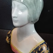 Identifying a Vintage Figurine - figurine of the head and shoulders of a woman with an ornately patterned dress or shirt