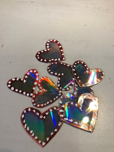 Recycled CD Mirrored Hearts - a scattering of CD hearts