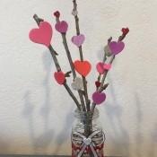 Heart Sticks Valentine's Day Arrangement - finished arrangement