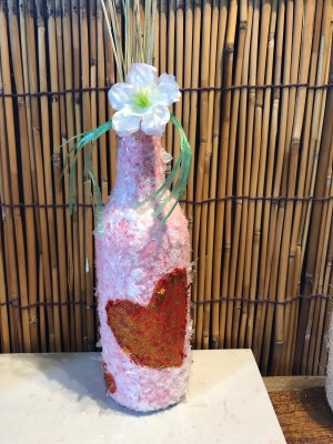 Recycled Snow and Heart Vase - finished vase with a flower and stems