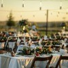 A wedding reception with tablecloths.