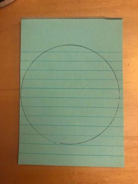 Monogram Gift Bag - circle traced on a lined teal note pad