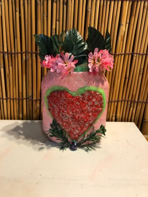 Valentine's Day Candy Jar - jar with flowers in it